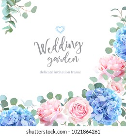 Blue hydrangea, pink rose, silver dollar eucalyptus and greenery vector design invitation frame. Beautiful spring wedding flowers card.Floral angle summer banner.All elements are isolated and editable