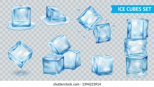 Blue ice cube transparent realistic set isolated vector illustration