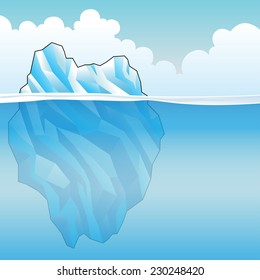 Blue Iceberg on a bright cloudy day Vector Illustration
