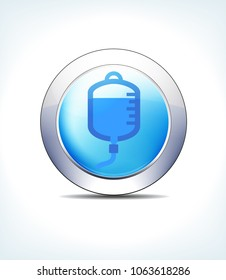 Blue Icon Button Blood Drip, Cannula, Intravenous Fluids or IV, for use in your Healthcare & Pharmaceutical presentations