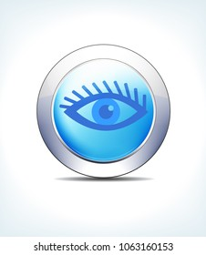 Blue Icon Button Eye Test Check, for use in your Healthcare & Pharmaceutical presentations