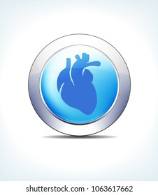 Blue Icon Button Heart, Cardiology for use in your Healthcare & Pharmaceutical presentations