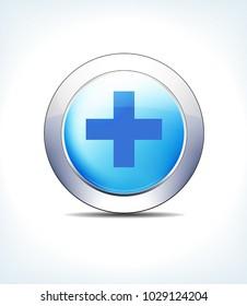 Blue Icon Button Hospital Cross, Healthcare & Pharma