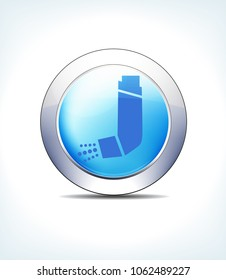 Blue Icon Button Inhaler, Asthma, for use in your Healthcare & Pharmaceutical presentations