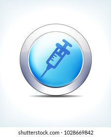 Blue Icon Button Injection, Syringe, Blood, Healthcare & Pharma