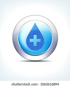 Blue Icon Button Medicine with Medical Cross for use in your Healthcare & Pharmaceutical presentations