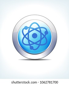 Blue Icon Button Nuclear Symbol Radioactive, for use in your Healthcare & Pharmaceutical presentations