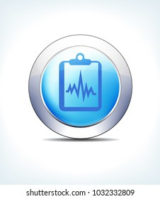 Blue Icon Button Patient Chart, Records, Clipboard, Healthcare & Pharma