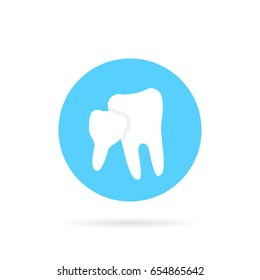 blue icon of family dentistry isolated on white background. flat style trend modern logotype or graphic art design. concept of dentista dental care or simple emblem for odontologia clinic office