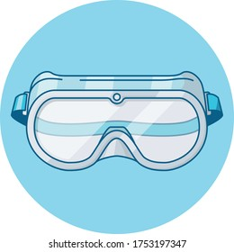 blue icon of safety goggles part of a ppe protective equipment icon set