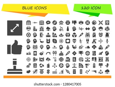 blue icon set. 120 filled blue icons. Simple modern icons about  - Resize, Glass cleaner, Like, Garage, Swordfish, Waterfall, Messenger, Compact disc, Fish bowl, Dislike, Printer