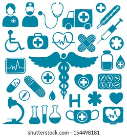 Blue icons on white with medical healthcare symbols