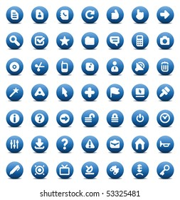 Blue icons set for computer interface. Vector illustration.