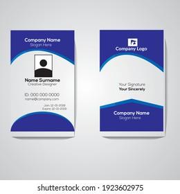 blue id card design vector