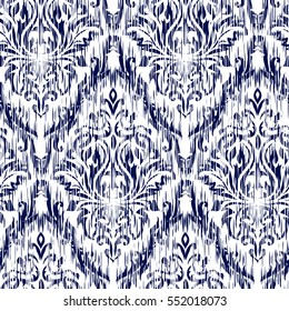 Blue Ikat Ogee and Damascus ornament Seamless Background Pattern. Abstract background for textile design, wallpaper, surface textures.