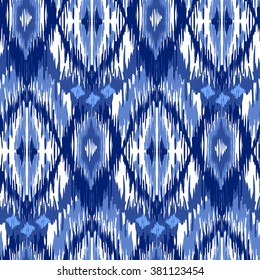 Blue Ikat Ogee Seamless Background Pattern