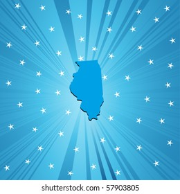 Blue  Illinois map, abstract background for your design