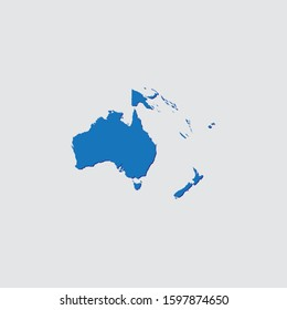 Blue Illustrated Country Shape with Shadow of Oceania