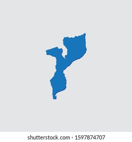 Blue Illustrated Country Shape with Shadow of Mozambique