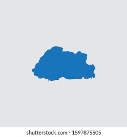 Blue Illustrated Country Shape with Shadow of Bhutan