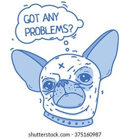 Blue illustration of a pretty muzzle chihuahua on a white background