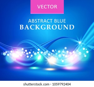Blue illustration. Vector abstract background with waves. Template for card, cover, flyers, brochures. Element for design, advertising, promotion