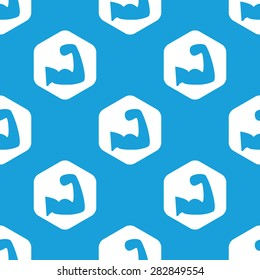 Blue image of muscular arm in white hexagon, repeated on blue
