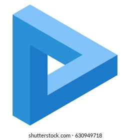Blue Impossible triangle. Impossible figure. vector illustration