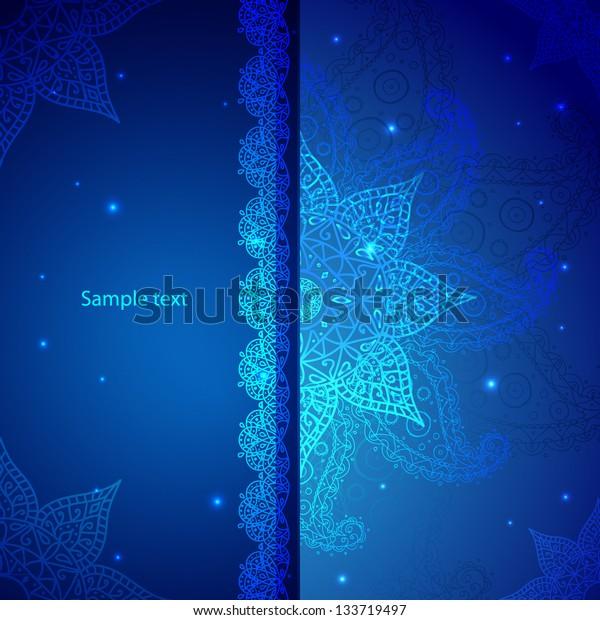 Blue Indian Vintage Ornament. Vector illustration for your business presentation