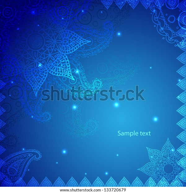 Blue Indian Vintage Ornament. Vector illustration for your business presentation