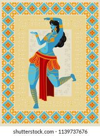 blue indian woman dancing