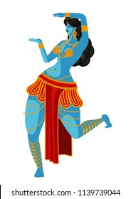 blue indian woman dancing