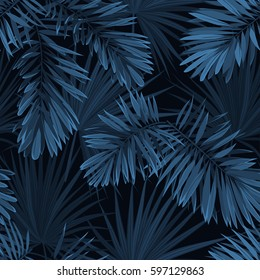 Blue indigo summer tropical camouflage with palm leaves. Seamless vector pattern.