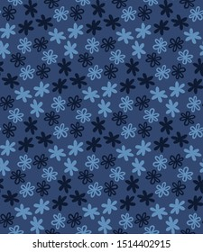 Blue indigo tiny daisy meadow seamless pattern . Dark moody dyed winter floral fabric textile. Vector ditsy vintage all over print.