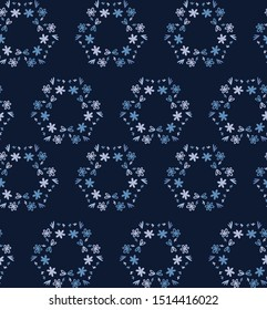 Blue indigo tiny daisy wreath seamless pattern . Dark moody dyed winter floral fabric textile. Vector ditsy vintage all over print.