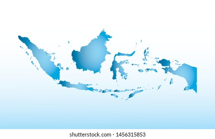 Blue Indonesia map ice with dark and light effect vector on light background illustration