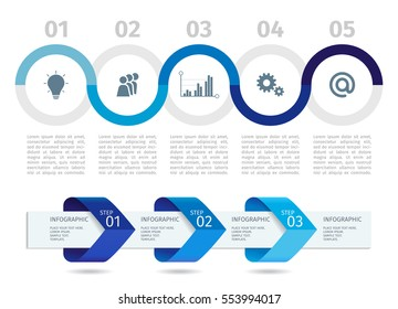 Blue Infographic process chart and arrows with step up options. Vector template