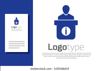 Blue Information desk icon isolated on white background. Man silhouette standing at information desk. Help person symbol. Information counter. Logo design template element. Vector Illustration