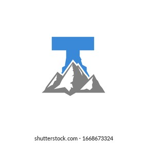 Blue Initial T logo with Grey Mountains