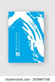 Blue ink brush stroke on white background. Japanese style. Vector illustration of grunge stains