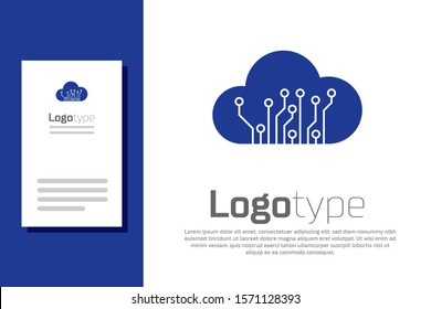 Blue Internet of things icon isolated on white background. Cloud computing design concept. Digital network connection. Logo design template element. Vector Illustration