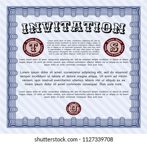 Blue Invitation. With background. Customizable, Easy to edit and change colors. Superior design.
