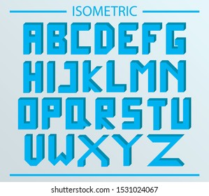 blue isometric alphabet design for projects