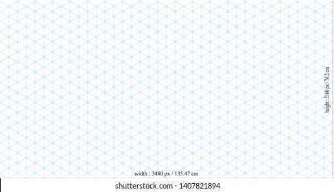 blue Isometric grid vector template, radius 30 degrees and 150 degrees, Dimensions Width 3840 pixels / 135.47 cm Height 2160 pixels / 76.2 cm