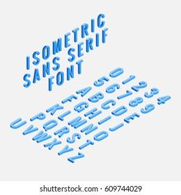 Blue isometric sans serif font isolated.