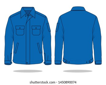 Blue Jacket Vector for Template : Front & Back View