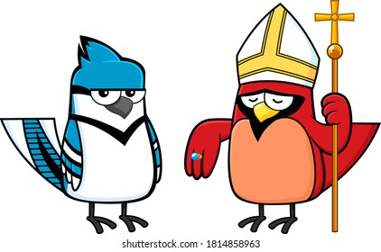 Blue Jay Bird And Red Cardinal Bird Cartoon Characters. Vector Illustration Isolated On White Background