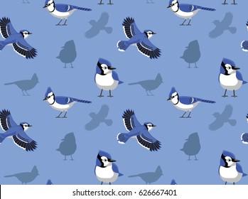 Blue Jay Cartoon Seamless Wallpaper