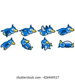 Blue jay flying and blue jay crashing animations.