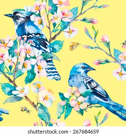 Blue jay on a flowering branch. Honeybee. Spring pattern. Vector. Watercolor.yellow background.